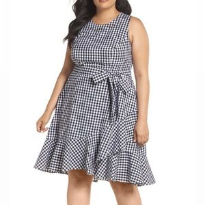 Eliza J Black Ruffle Hem Gingham Sleeveless Dress